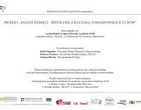 Pasaże Pamięci, czyli o kulturze tomaszowskich Żydów. Zaproszenie na konferencję.