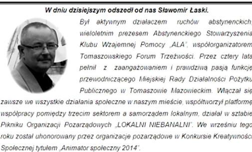 Nie żyje Sławomir Łaski, tomaszowski działacz ruchów abstynenckich