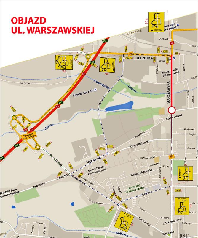 Objazd ul. Warszawskiej