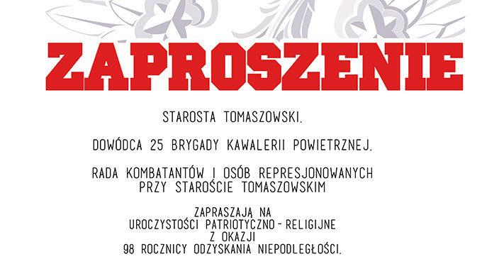 Tomaszowskie obchody 98. Rocznicy Odzyskania Niepodległości