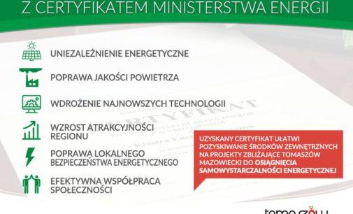 Tomaszowski Klaster z certyfikatem Ministerstwa Energii