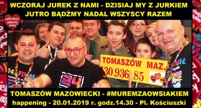"""Happening """"Murem za Owsiakiem"""" w niedzielę na placu Kościuszki"""